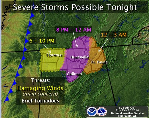 Severe Weather Predicted For Tonight Map