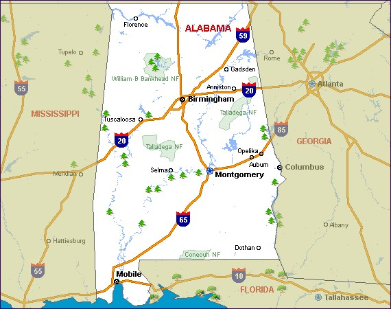 Alabama State Map Cities Images