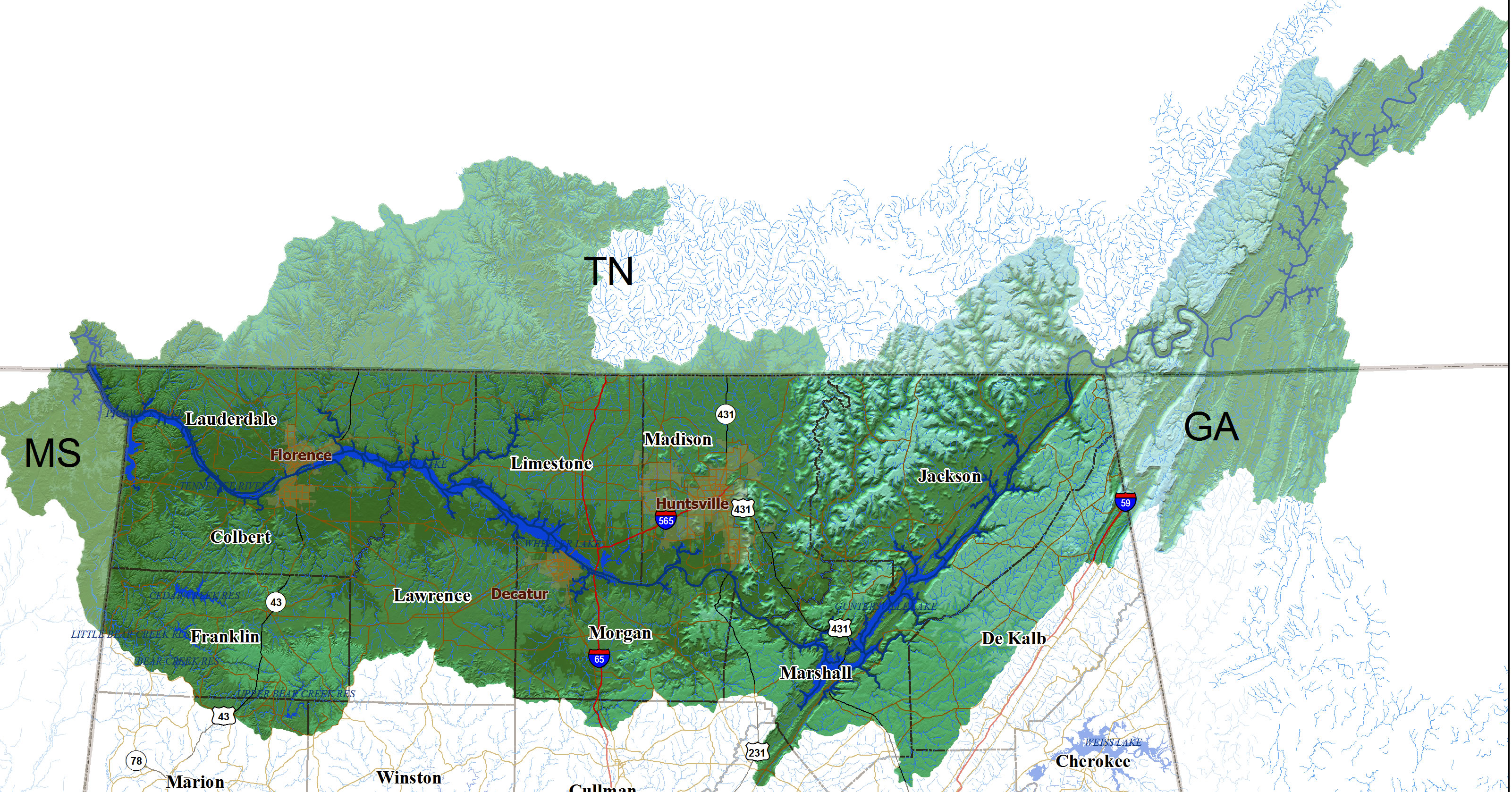 tennessee river watershed map  swimnovacom